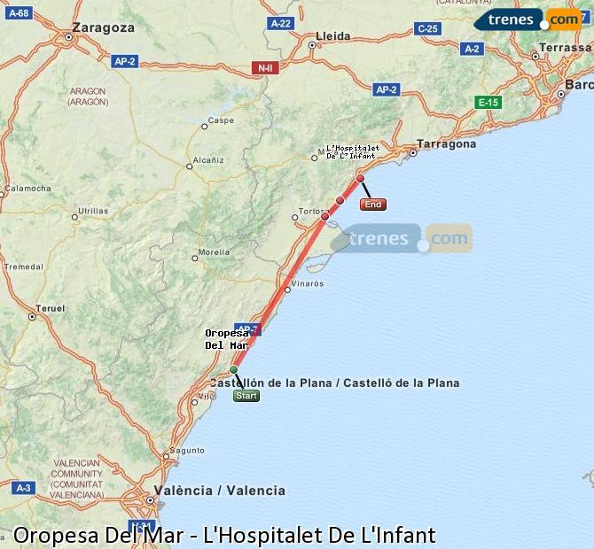 Ingrandisci la mappa Treni Oropesa Del Mar L'Hospitalet De L'Infant