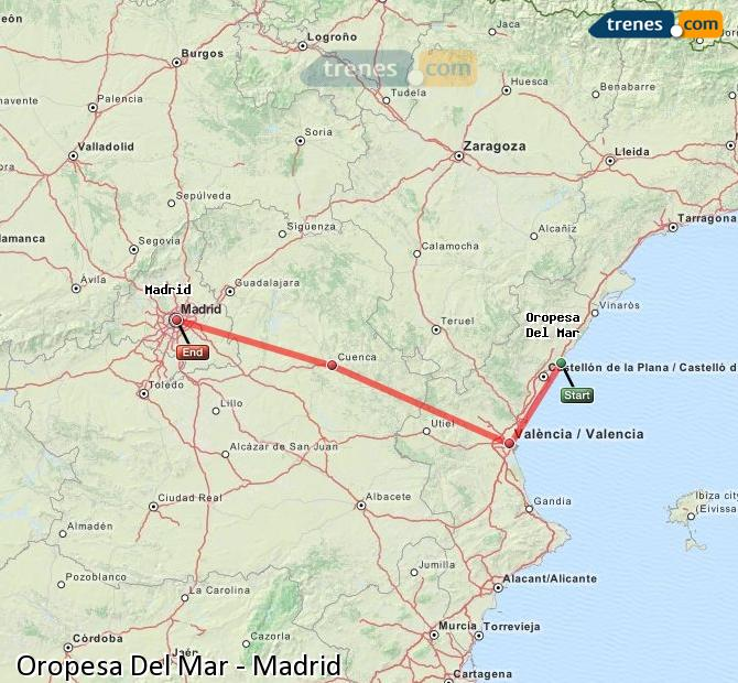 Enlarge map Trains Oropesa Del Mar to Madrid
