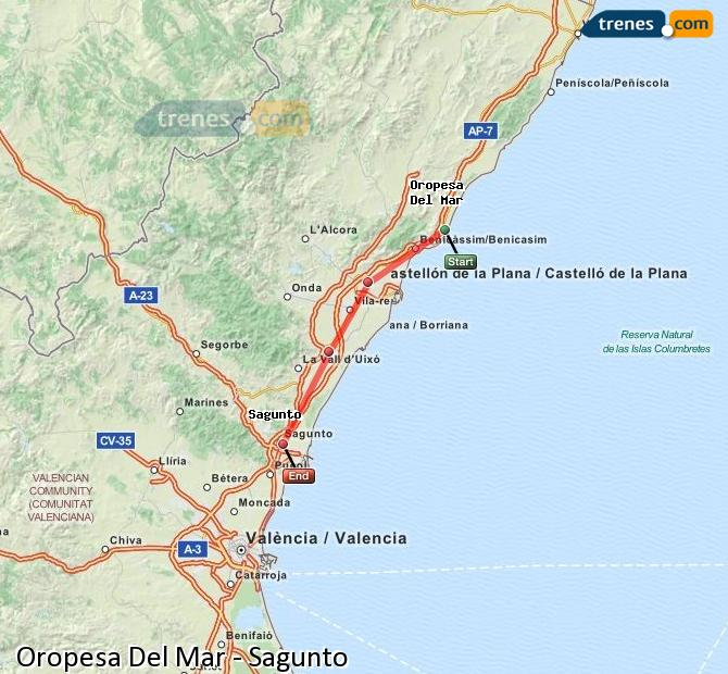 Enlarge map Trains Oropesa Del Mar to Sagunto