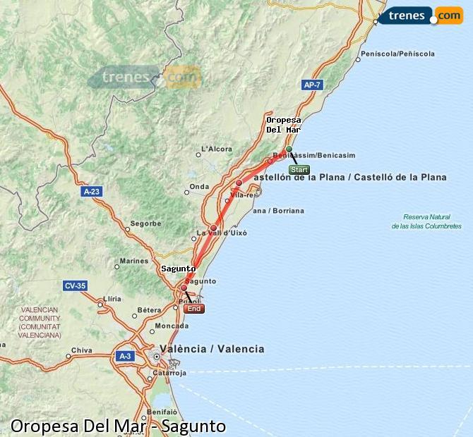 Agrandir la carte Trains Oropesa Del Mar Sagunto