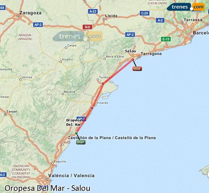 Ampliar mapa Trenes Oropesa Del Mar Salou