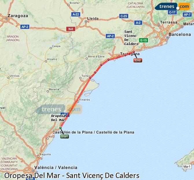 Karte vergrößern Züge Oropesa Del Mar Sant Vicenç De Calders