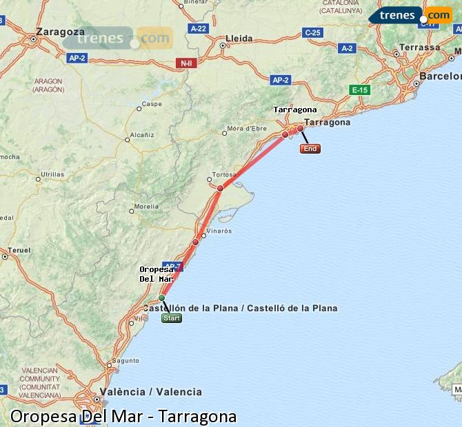 Ingrandisci la mappa Treni Oropesa Del Mar Tarragona