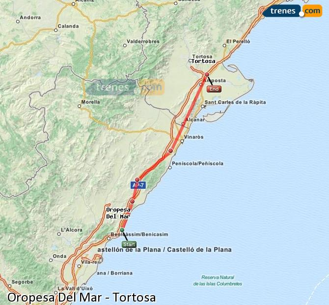 Enlarge map Trains Oropesa Del Mar to Tortosa