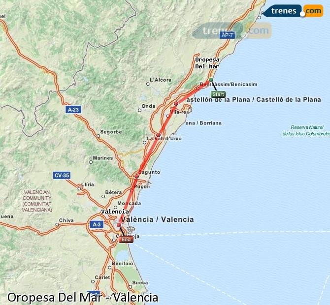 Enlarge map Trains Oropesa Del Mar to Valencia