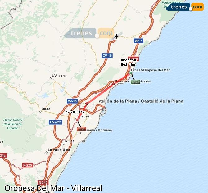 Enlarge map Trains Oropesa Del Mar to Villarreal
