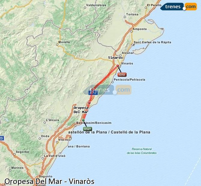 Enlarge map Trains Oropesa Del Mar to Vinaròs