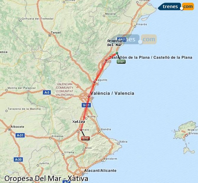 Enlarge map Trains Oropesa Del Mar to Xativa