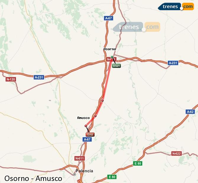 Enlarge map Trains Osorno to Amusco