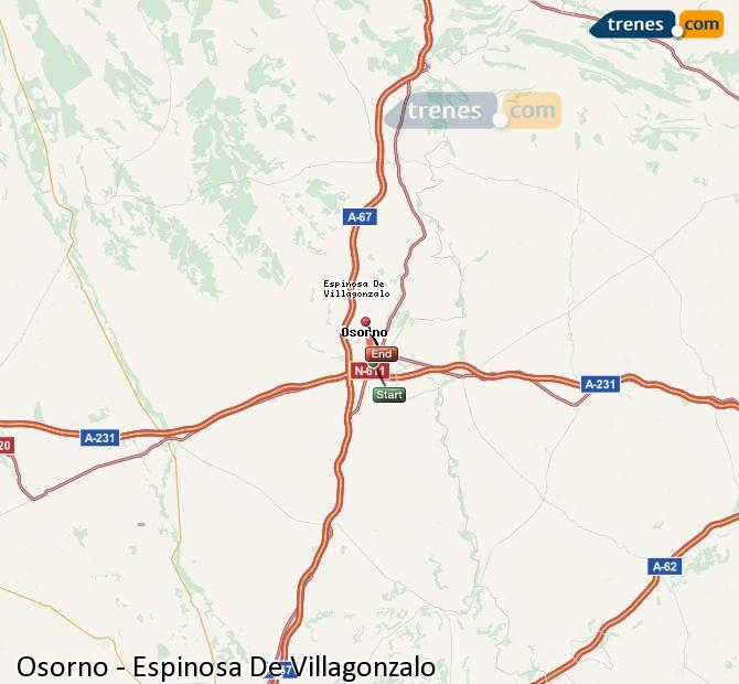Enlarge map Trains Osorno to Spinosa De Villagonzalo