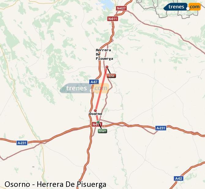 Enlarge map Trains Osorno to Herrera De Pisuerga