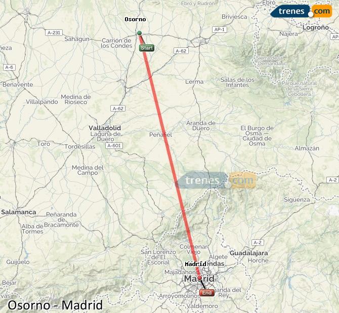 Agrandir la carte Trains Osorno Madrid