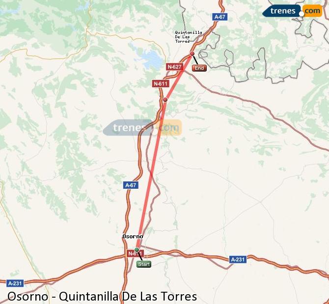 Agrandir la carte Trains Osorno Quintanilla De Las Torres