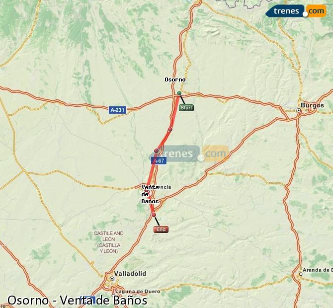 Enlarge map Trains Osorno to Venta de Baños