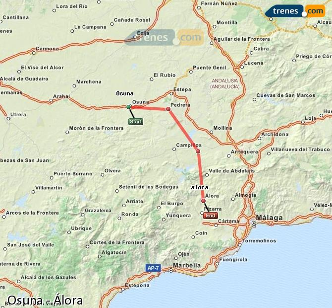 Enlarge map Trains Osuna to Álora