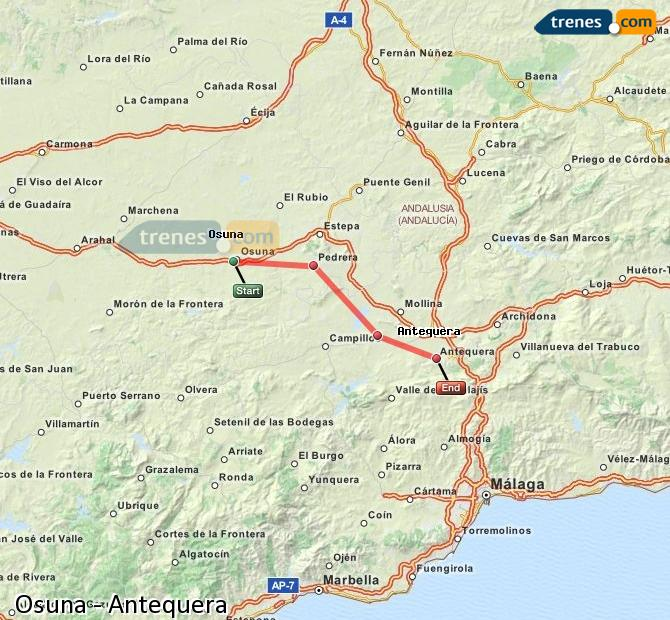 Enlarge map Trains Osuna to Antequera