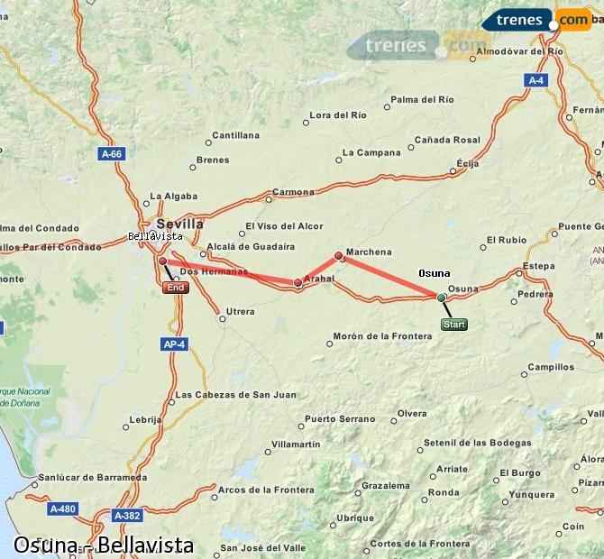 Karte vergrößern Züge Osuna Bellavista