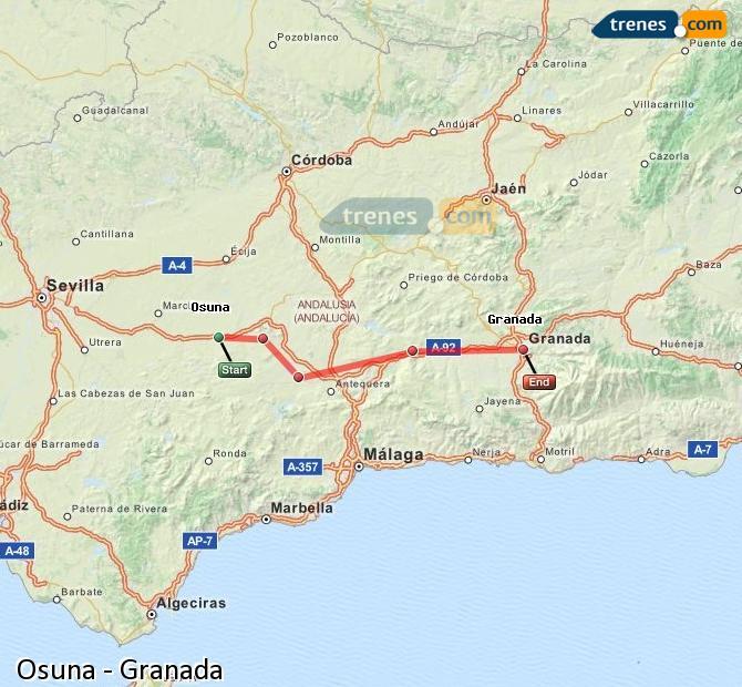 Ampliar mapa Trenes Osuna Granada