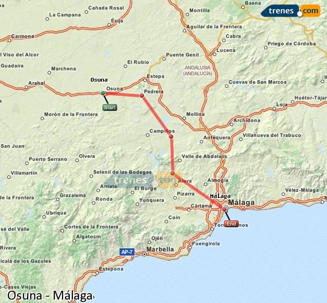 Enlarge map Trains Osuna to Malaga