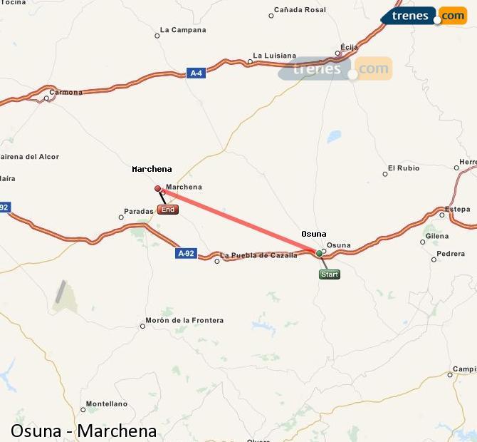 Enlarge map Trains Osuna to Marchena
