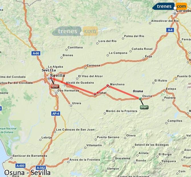 Agrandir la carte Trains Osuna Sevilla