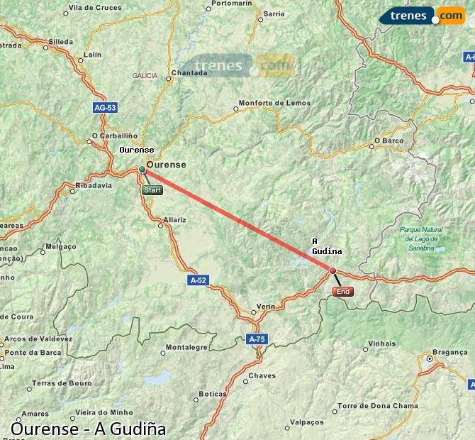 Karte vergrößern Züge Ourense A Gudiña