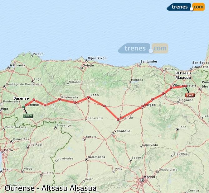 Enlarge map Trains Ourense to Altsasu Alsasua