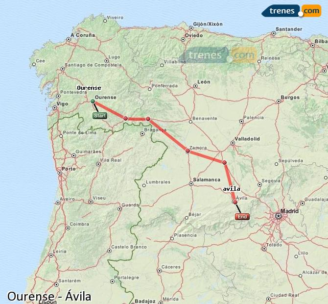Enlarge map Trains Ourense to Avila