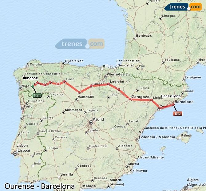 Agrandir la carte Trains Ourense Barcelone
