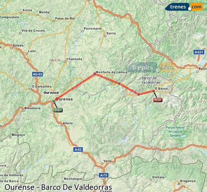 Ampliar mapa Trenes Ourense Barco De Valdeorras
