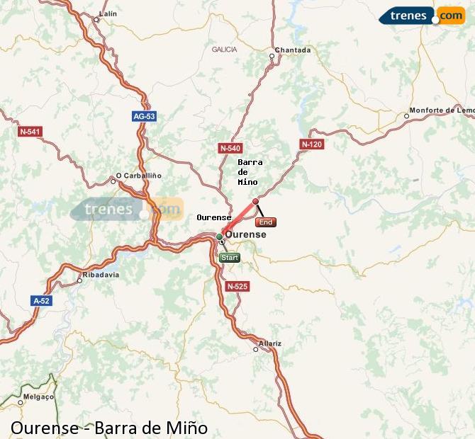 Ampliar mapa Comboios Ourense Barra de Miño