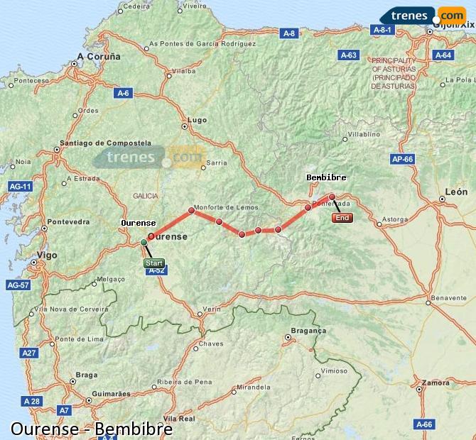 Agrandir la carte Trains Ourense Bembibre