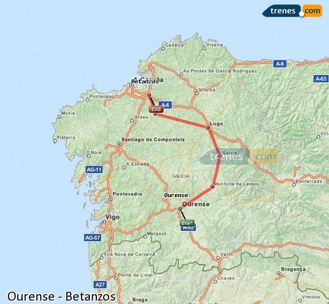Karte vergrößern Züge Ourense Betanzos