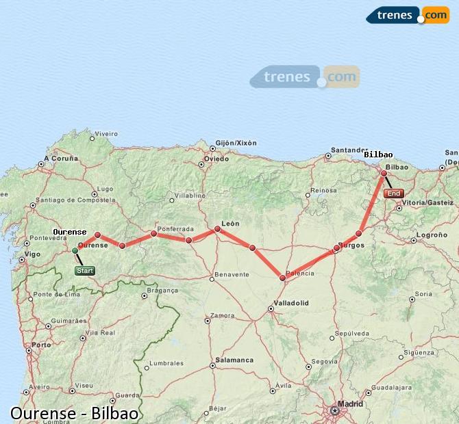 Ampliar mapa Trenes Ourense Bilbao