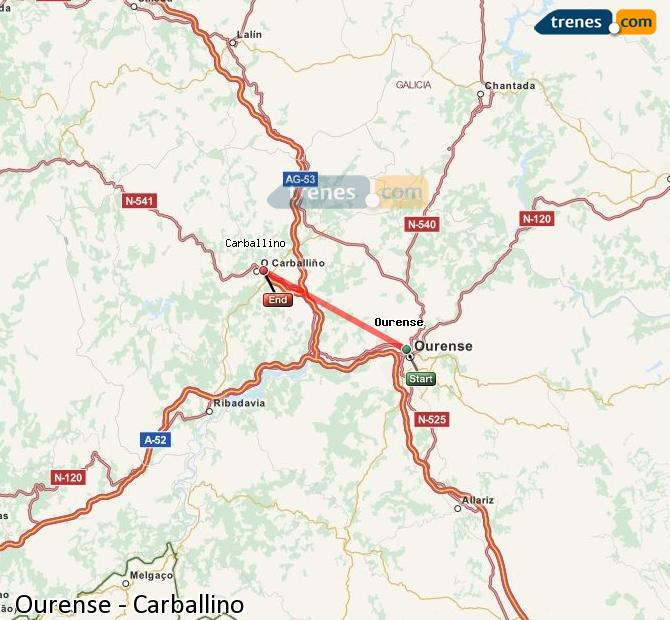 Ampliar mapa Comboios Ourense Carballino