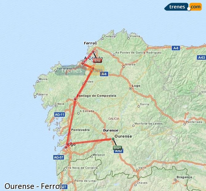 Ampliar mapa Trenes Ourense Ferrol