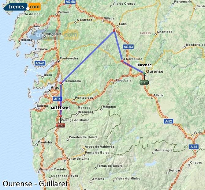 Agrandir la carte Trains Ourense Guillarei