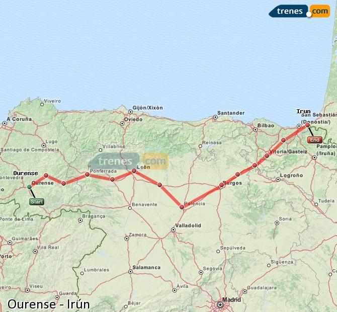 Agrandir la carte Trains Ourense Irún