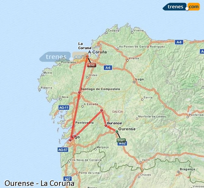 Enlarge map Trains Ourense to La Coruña