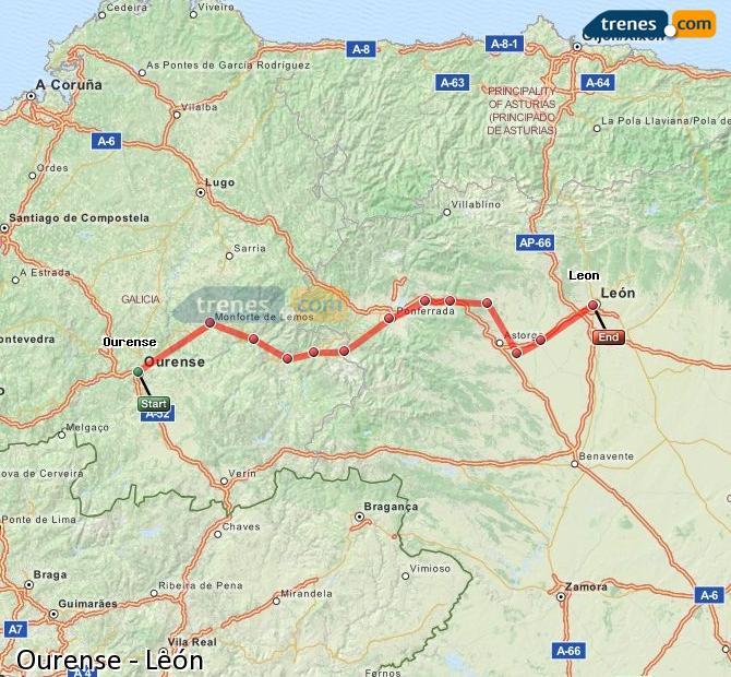 Ampliar mapa Trenes Ourense León