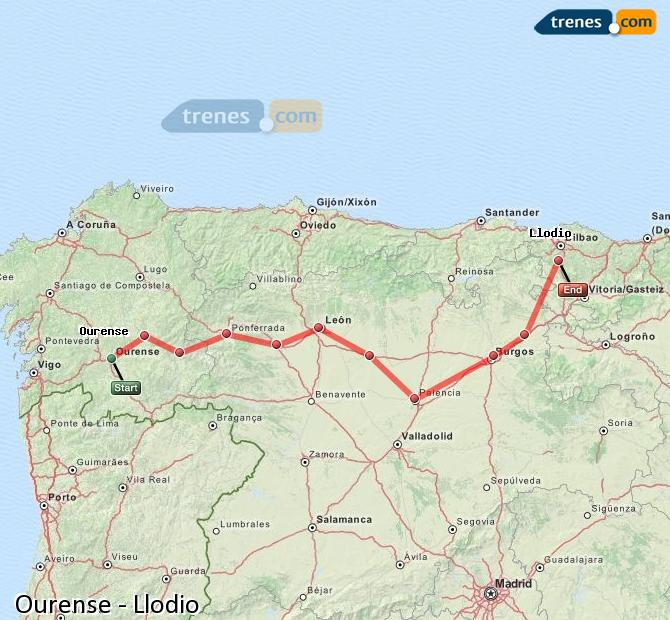 Enlarge map Trains Ourense to Llodio
