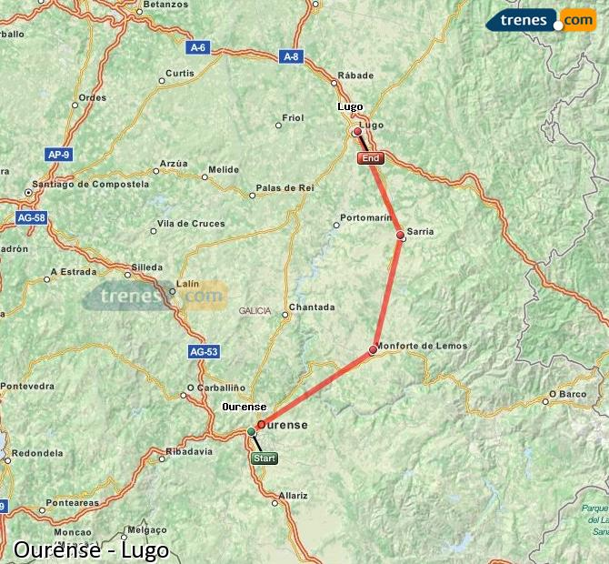 Enlarge map Trains Ourense to Lugo