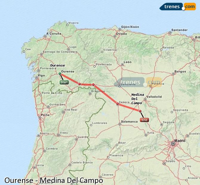 Enlarge map Trains Ourense to Medina Del Campo