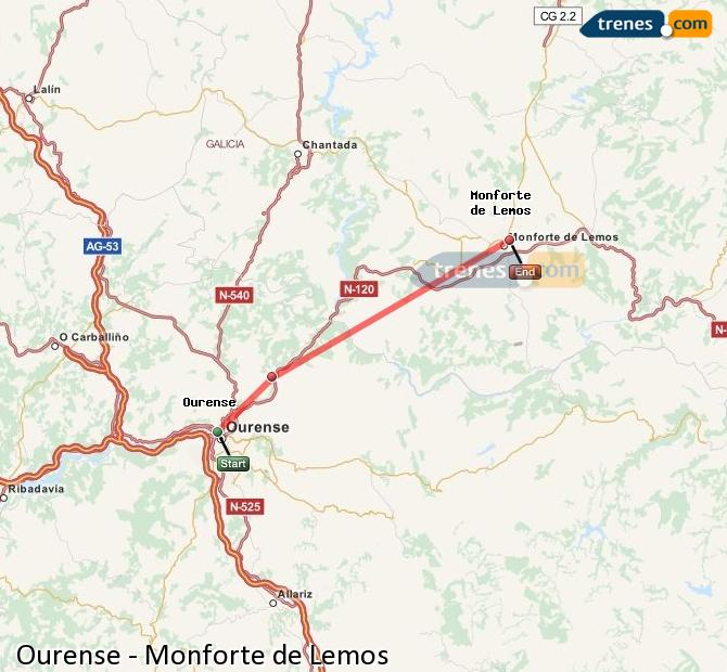 Enlarge map Trains Ourense to Monforte de Lemos