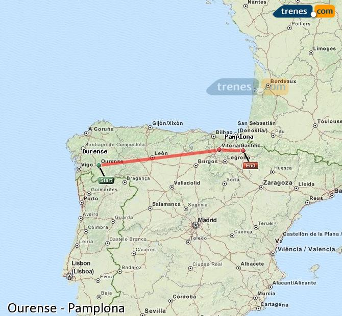 Enlarge map Trains Ourense to Pamplona