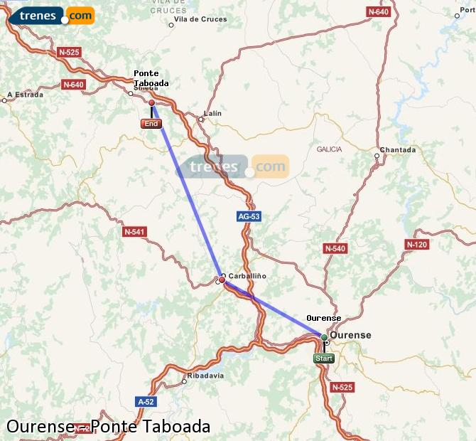 Enlarge map Trains Ourense to Ponte Taboada