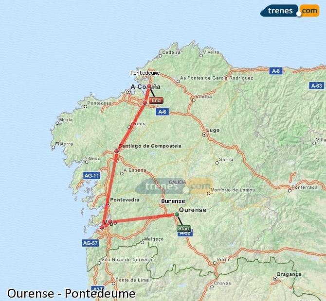 Karte vergrößern Züge Ourense Pontedeume