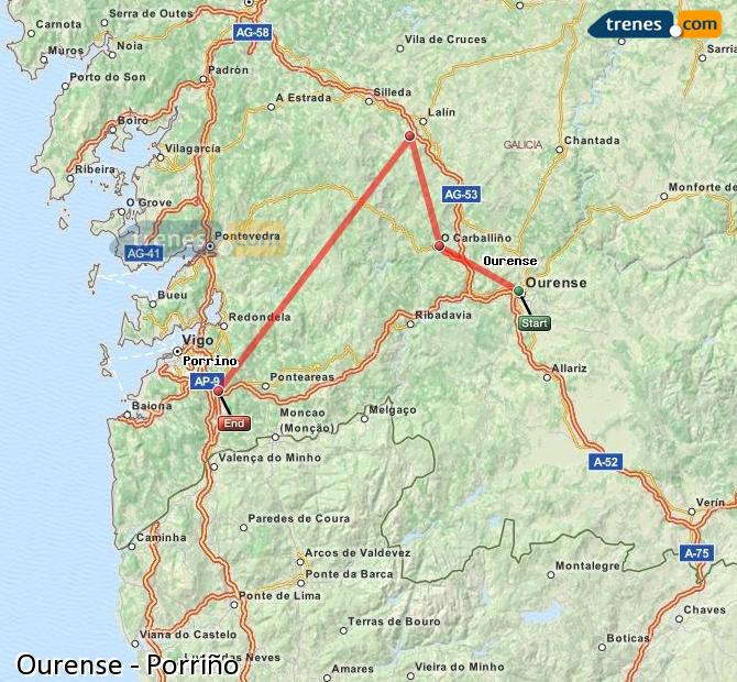 Enlarge map Trains Ourense to Porriño