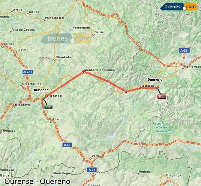 Enlarge map Trains Ourense to Quereño