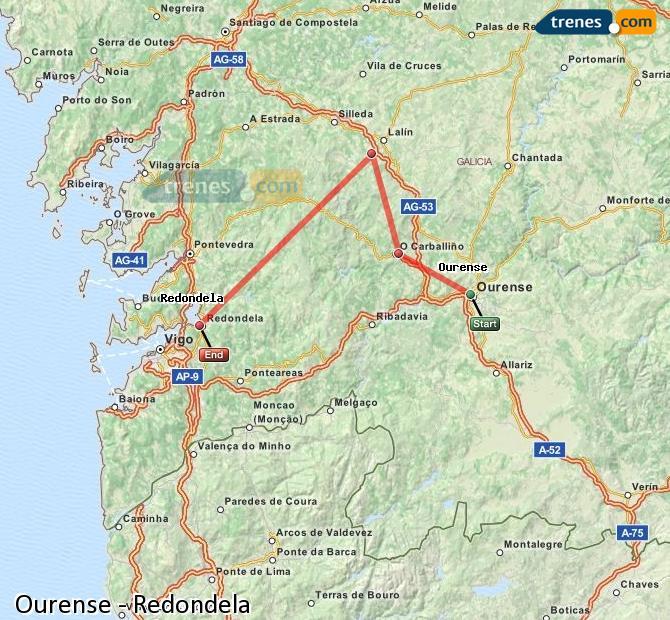 Ingrandisci la mappa Treni Ourense Redondela